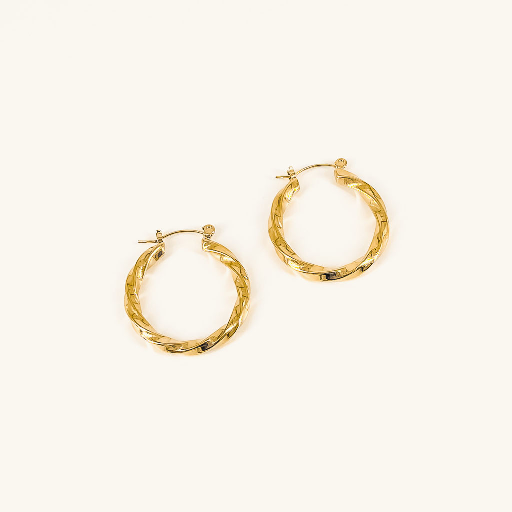 Elsa hoops waterproof gold plated earrings