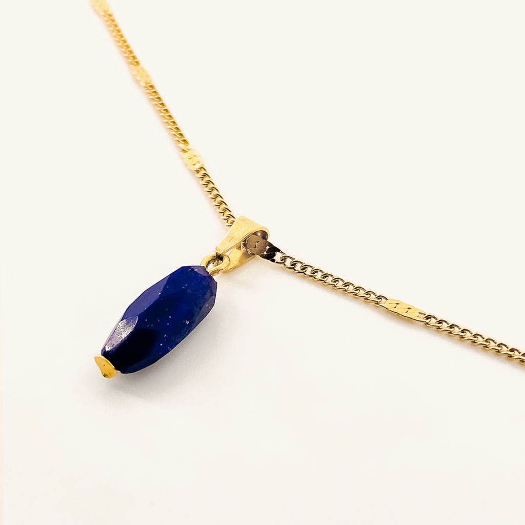 Gold plated necklace with Lapis Lazulli gemstone pendant waterproof jewelry