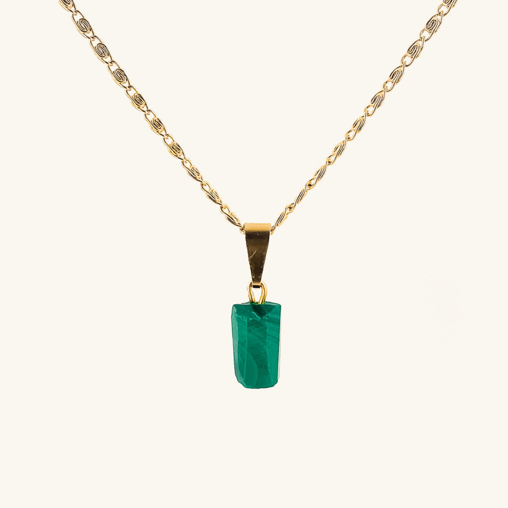 Gold plated necklace green gemstone jewelry