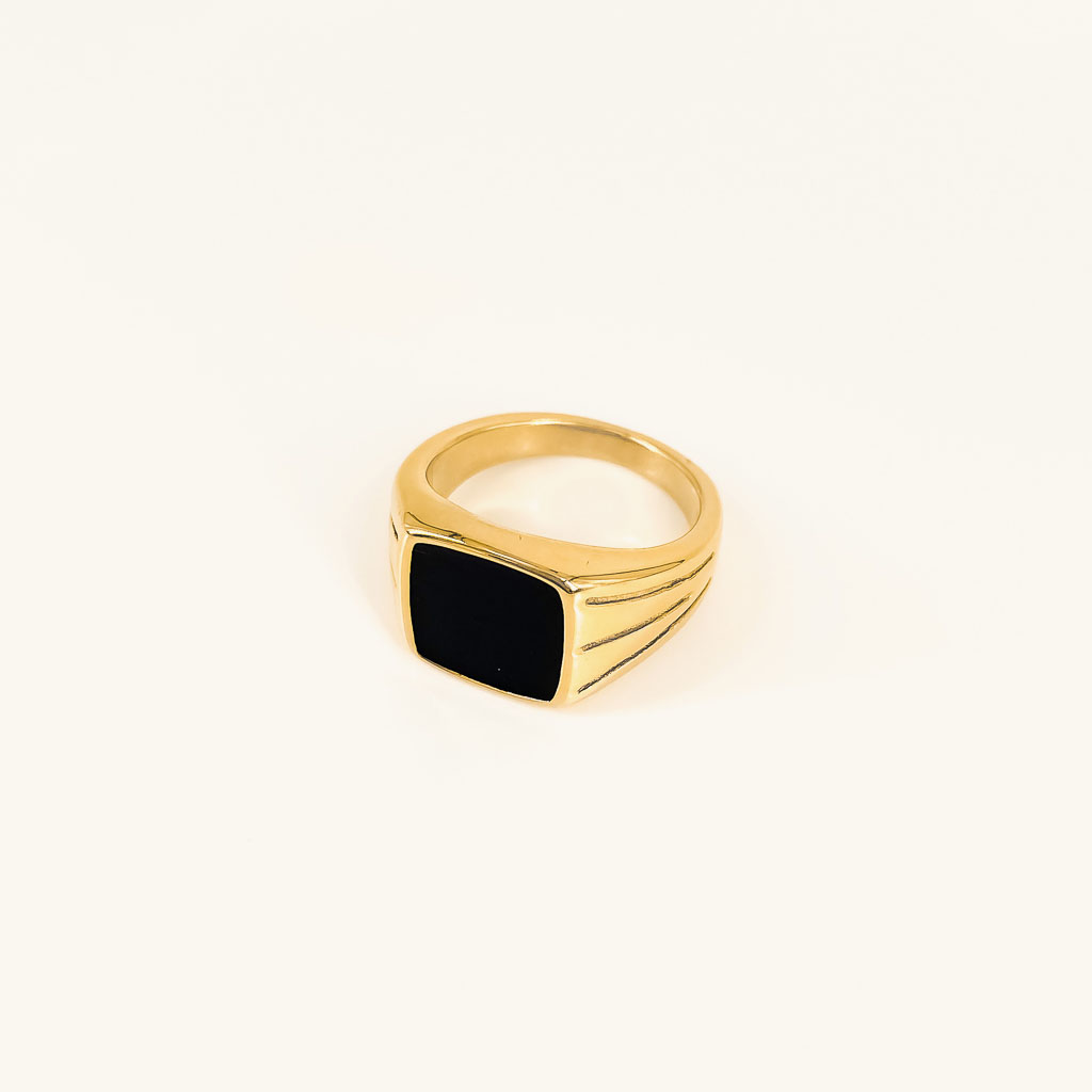 Bobby ring gold plated signet ring with black stone waterproof jewelry